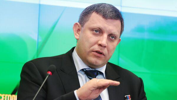 Lider DNR Aleksandar Zaharčenko govori na konferenciji za medije u pres-centru MIA Rusija sevodnja u Simferopolju - Sputnik Srbija