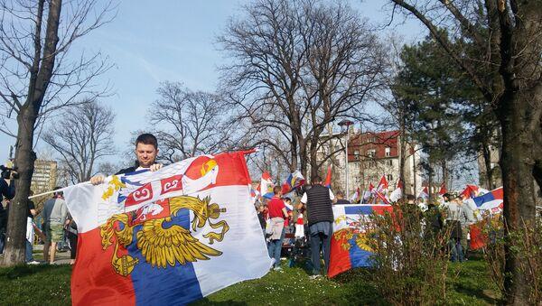 Navijači Spartaka i Crvene Zvezde ispred Hrama Svetog Save - Sputnik Srbija