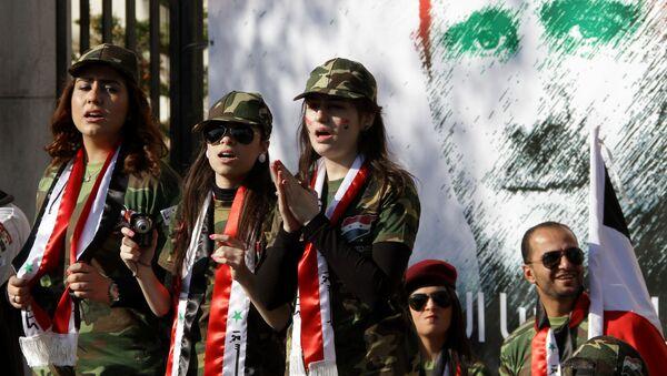 Mural s izobraženiem prezidenta Sirii Bašara Asada v Damaske   - Sputnik Srbija