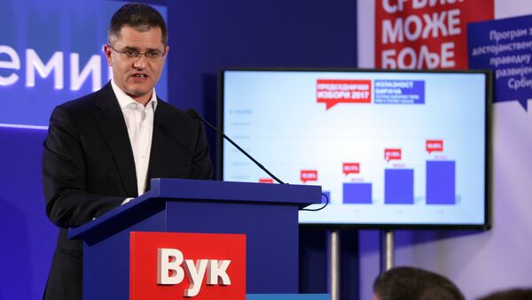 Председнички кандидат Вук Јеремић на конференцији за новинаре у свом предизборном штабу - Sputnik Србија