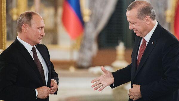 Председник Русије Владимир Путин и председник Турске Реџеп Тајип Ердоган у Истанбулу - Sputnik Србија