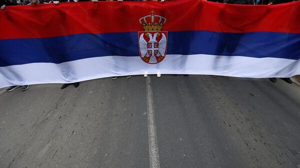 Застава Србије на предизборном митингу - Sputnik Србија