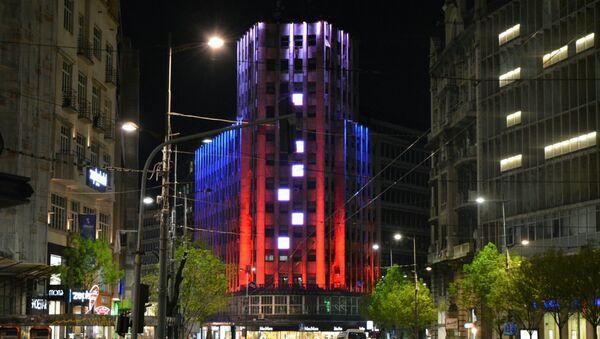 Палата Албанија у бојама руске заставе - Sputnik Србија