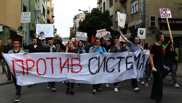 Protesti studenata u Novom Sadu 04.04.2017. god. - Sputnik Srbija