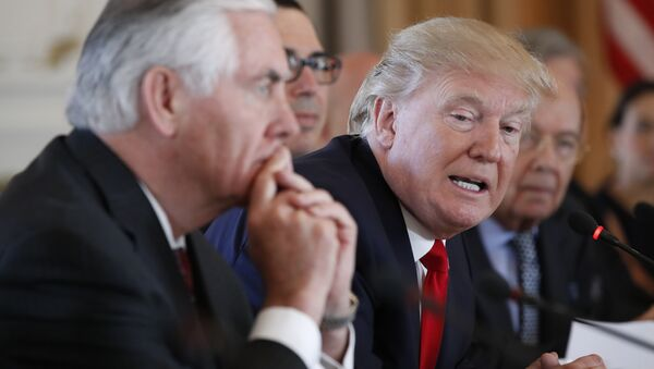 Председник САД Доналд Трамп и државни секретар Рекс Тилерсон током састанка са кинеским председником Си Ђинпингом на Флориди - Sputnik Србија