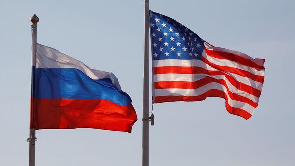 Заставе Русије и САД на међународном аеродрому Внуково у Москви - Sputnik Србија