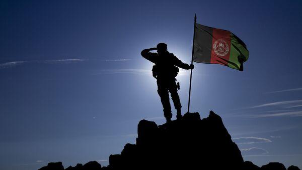 Војник са заставом Авганистана - Sputnik Србија