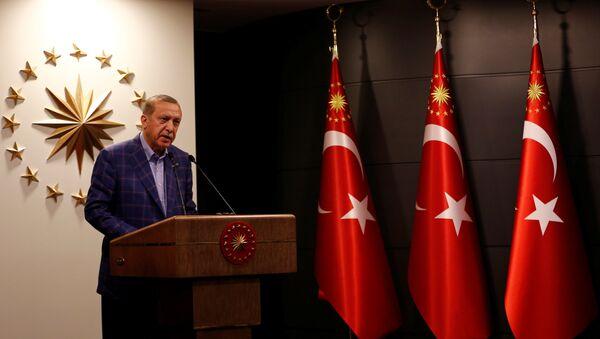 Председник Турске Реџеп Тајип Ердоган даје изјаву за медије - Sputnik Србија