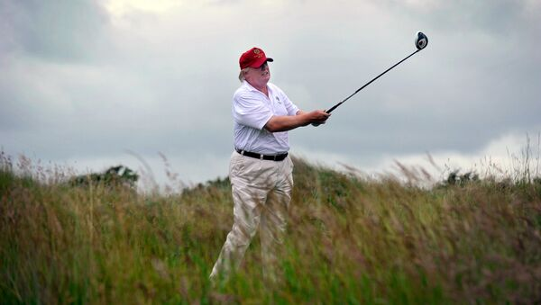 Donald Tramp na golf terenu - Sputnik Srbija
