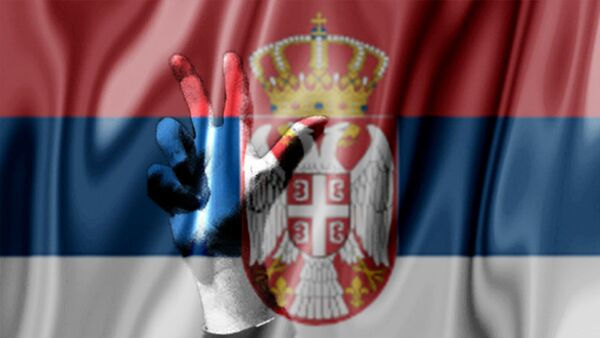 Srpska zastava i tri prsta - ilustracija - Sputnik Srbija