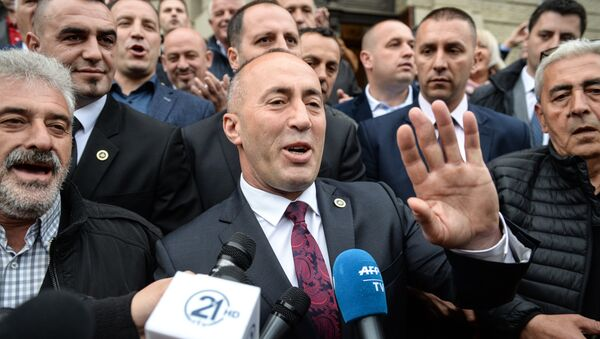 Ramuš Haradinaj po izlasku sudnice u Kolmaru - Sputnik Srbija