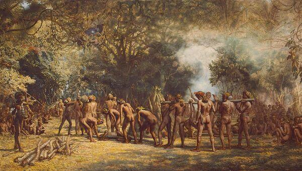 Канибалска гозба у племену Тана - илустрација - Sputnik Србија