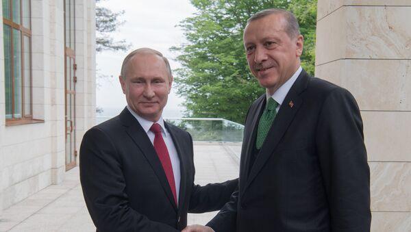 Predsednik Rusije Vladimir Putin i predsednik Turske Redžep Tajip Erdogan pre sastanka u Sočiju - Sputnik Srbija