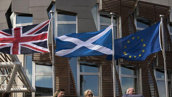 Zastave Škotske, EU i Velike Britanije u Edinburgu - Sputnik Srbija