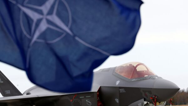 Застава НАТО-а испред америчког ловца Ф-35А Лајтнинг - Sputnik Србија