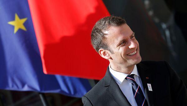 Predsednik Francuske Emanuel Makron nakon sastanka sa Komisijom za evaluaciju Međunarodnog olimpijskog komiteta u Parizu - Sputnik Srbija