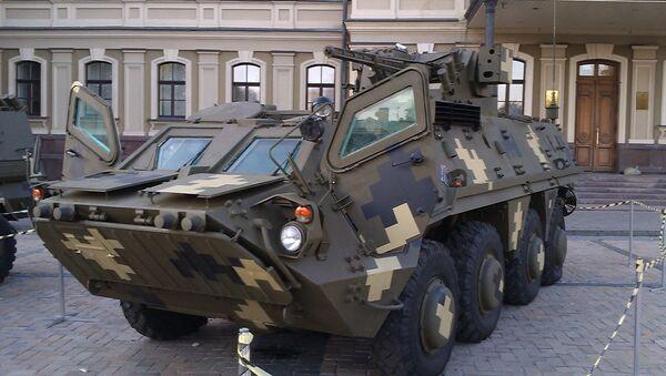 Ukrajinski oklopni transporter BTR-4E na izložbi povodom Dana branilaca Ukrajine - Sputnik Srbija