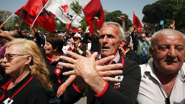 Протест Демократеке партије Албаније  у Тирани - Sputnik Србија