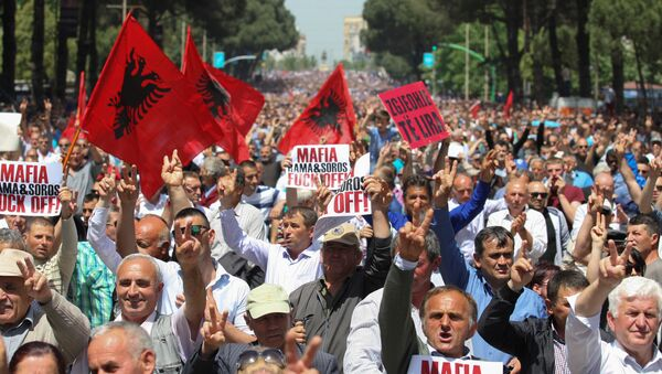 Protest pristalica opozicije u Tirani. - Sputnik Srbija