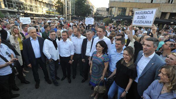 Опозиција Србије на митингу у центру Београда - Sputnik Србија