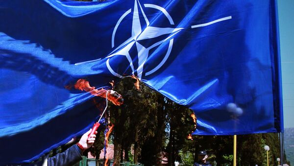 Paljenje NATO zastave - Sputnik Srbija