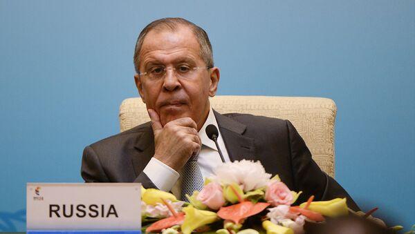 Министар спољних послова Русије Сергеј Лавров на конференцији за медије на састанку министара земаља БРИКС-а у Пекингу - Sputnik Србија