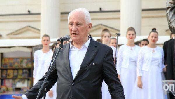 Matija Bećković na otvaranju sajma knjiga u Andrićgradu. - Sputnik Srbija