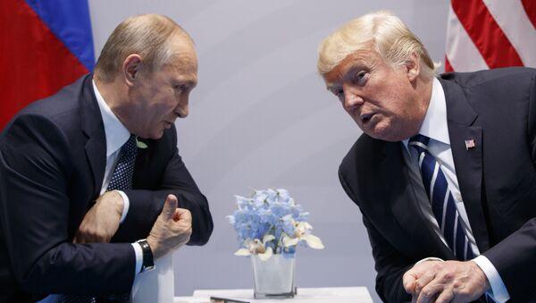 Predsednici Rusije i SAD Vladimir Putin i Donald Tramp na sastanku u okviru samita G20 u Hamburgu - Sputnik Srbija