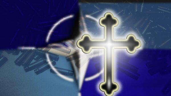 Православни крст и лого НАТО-а - Sputnik Србија