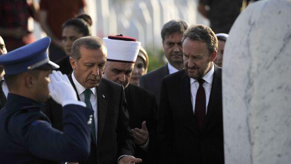 Bakir Izetbegović i Redžep Erdogan na grobu Alije Izebegovića - Sputnik Srbija