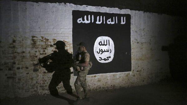 Ирачки војник поре графита на ком је застава ДАЕШ-а - Sputnik Србија