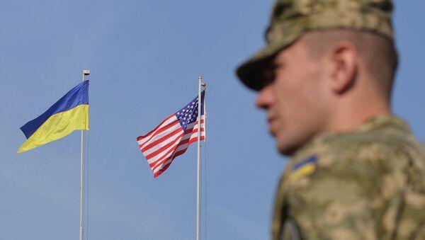 Vojnik pored zastava Ukrajine i SAD tokom vežbi Rapid Trident - Sputnik Srbija
