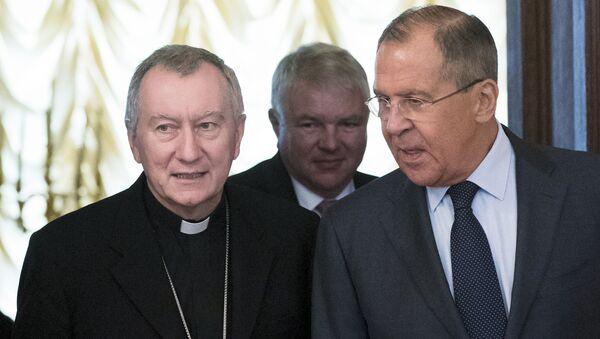 Sekretar Vatikana kardinal Pjetro Parolin i ministar spoljnih poslova Rusije Sergej Lavrov na sastanku u Moskvi - Sputnik Srbija
