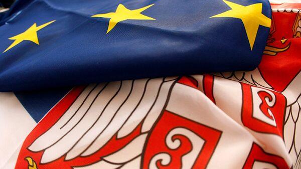 Zastave Eu i Srbije - Sputnik Srbija