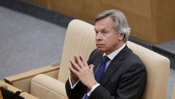 Председник Одбора за међународне послове Државне думе Русије Алексеј Пушков током заседања - Sputnik Србија