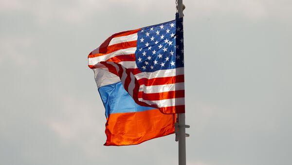 Zastave Rusije i SAD na aerodromu Vnukovo u Moskvi - Sputnik Srbija