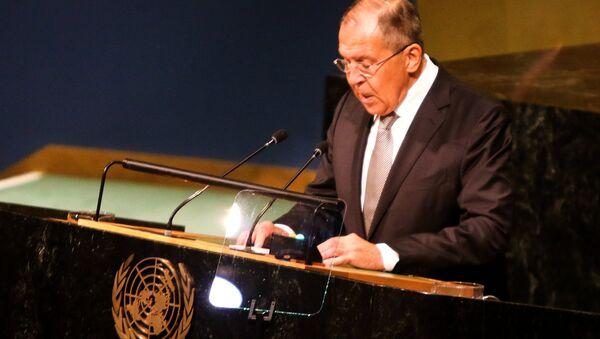 Ministar inostranih poslova Rusije Sergej Lavrov na Generalnoj skupštini UN - Sputnik Srbija