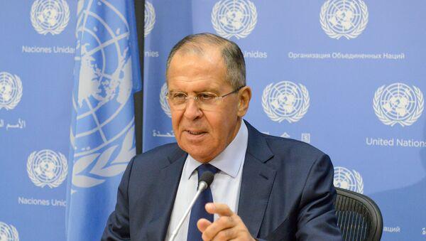 Ministar spoljnih poslova Sergej Lavrov govori na konferenciji za medije u okviru Generalne skupštine UN u Njujorku - Sputnik Srbija