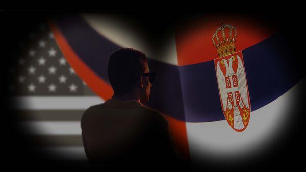 Zastave SAD, Rusije i Srbije - Sputnik Srbija