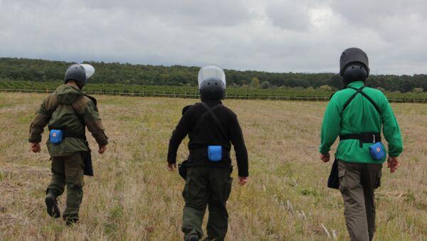 Ruski i srpski demineri čiste od bombi neobrađeno zemljište, šumu, ali i vinograde i druge poljoprivredne površine kako bi ih ljudi ponovo obrađivali - Sputnik Srbija