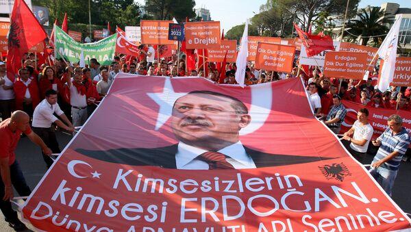 Транспарент са ликом турског председника Реџепа Тајипа Ердогана у Албанији- архивска фотографија - Sputnik Србија