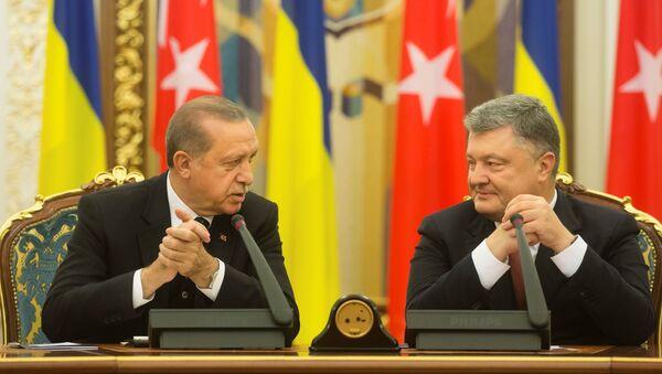 Председници Турске и Украјине, Реџеп Тајип Ердоган и Петро Порошенко током заједничке конференције за медије у Кијеву - Sputnik Србија
