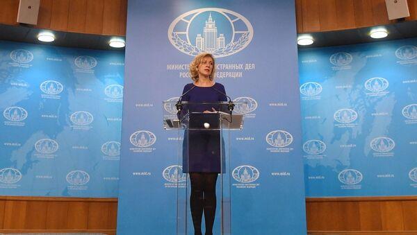 Портпаролка Министарства спољних послова Русије Марија Захарова на редовном брифингу - Sputnik Србија