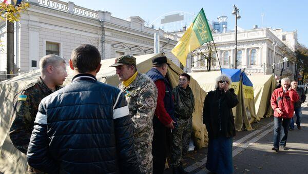 Шаторски камп испред зграде Врховне раде Украјине у Кијеву - Sputnik Србија
