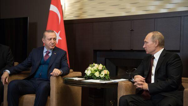 Председници Турске и Русије Реџеп Тајип Ердоган и Владимир Путин - Sputnik Србија