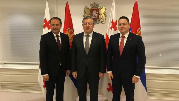 Rasim Ljajić i Branko Ružić sa grusijskim premijerom Giorgijem Kvirikašvilijem - Sputnik Srbija