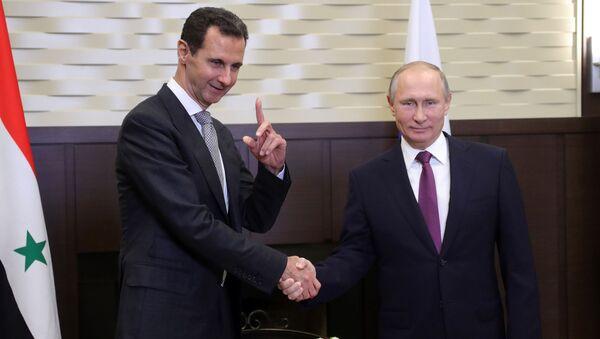 Predsednici Sirije i Rusije Bašar Asad i Vladimir Putin - Sputnik Srbija