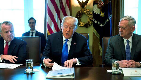 Američki predsednik Donald Tramp na sastanku kabineta u Beloj kući - Sputnik Srbija