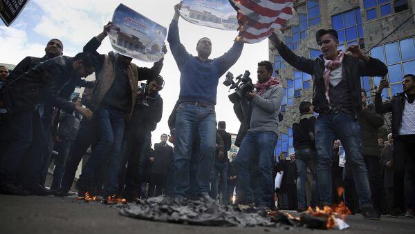Palestinci protestuju protiv odluke američkog predsednika Donalda Trampa o priznavanju Jerusalima za prestonicu Izraela - Sputnik Srbija