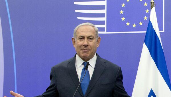 Premijer Izraela Benjamin Netanijahu govori na konferenciji za medije u sedištu Saveta EU u Briselu - Sputnik Srbija